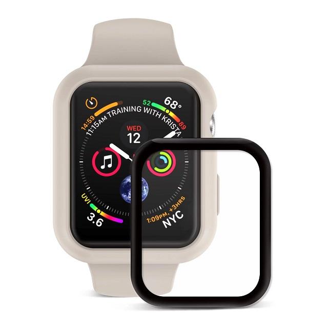 JTLEGEND Apple Watch Series 4 (44mm) Doux 柔矽全方位保護殼組 (保護殼+3D保貼:米)