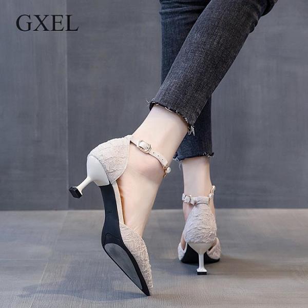 細跟高跟鞋 大東歌夏季新款法式中空一字扣單鞋女仙女風高跟鞋女細跟珍珠鏈條 小衣里