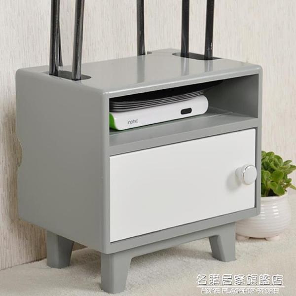 wifi無線路由器收納盒壁掛機頂盒置物架實木電源線整理貓插座收納 NMS名購新品