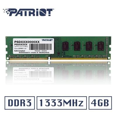 Patriot美商博帝DDR3 1333 4GB 桌上型記憶體 (PSD34G13332)