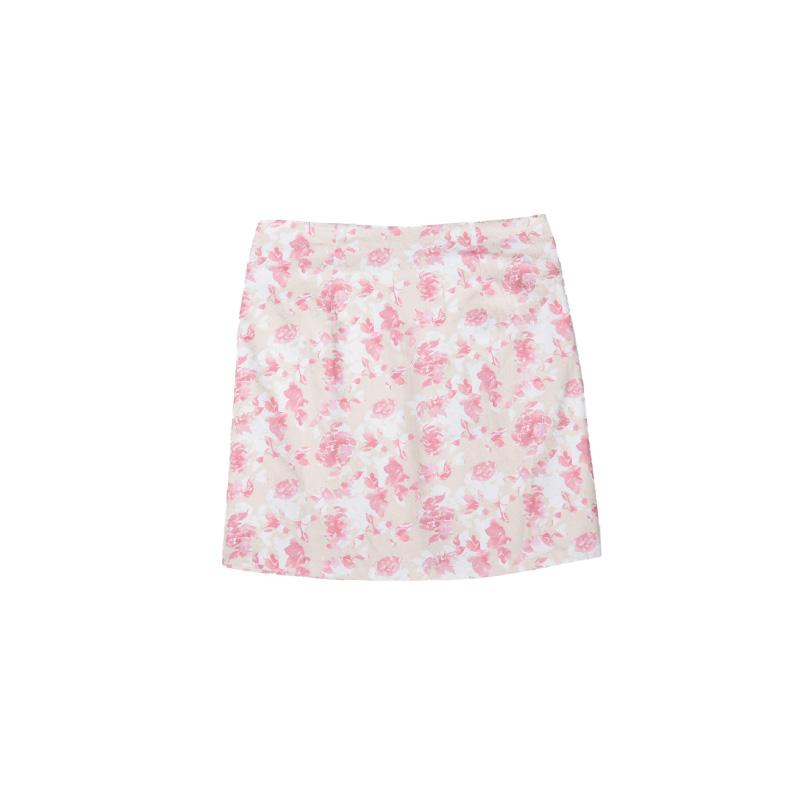 HS 浮雕玫瑰萊卡裙 氣質粉