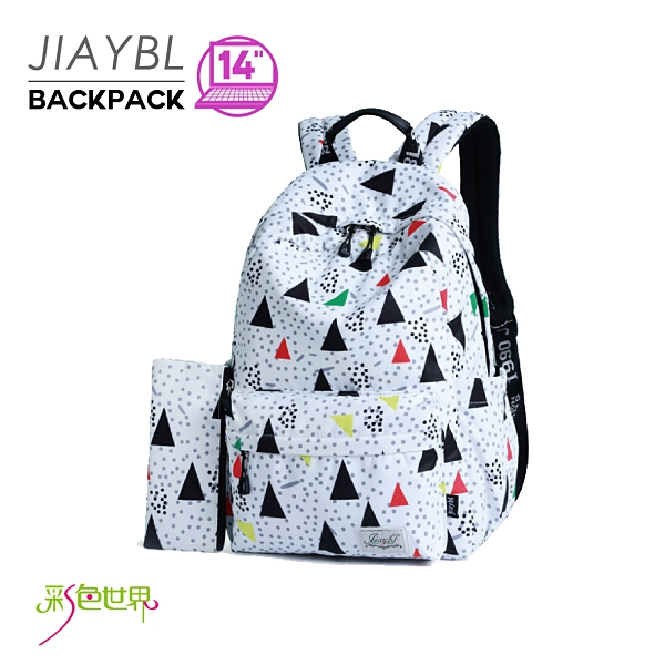 後背包 三角點點印花大容量休閒背包 JIA-8389 彩色世界