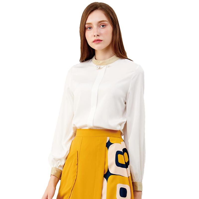 HS 撞色時尚衣 簡約白
