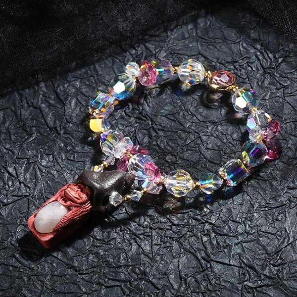 4545北歐盧恩符文精靈紫水晶草莓晶碧璽招財愛情手鏈吊墜護身