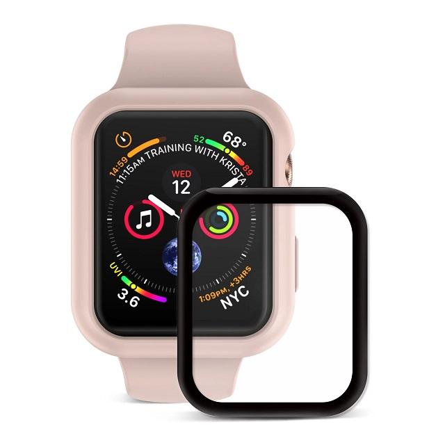 JTLEGEND Apple Watch Series 4 (44mm) Doux 柔矽全方位保護殼組 (保護殼+3D保貼:粉杏)