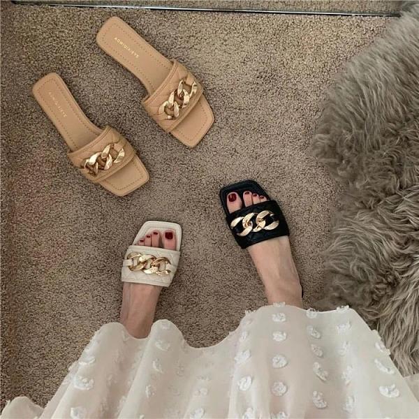 涼拖鞋2021新款拖鞋女外穿時尚方頭韓版學生百搭平底夏季女鞋