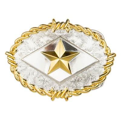 IVAN 橢圓/鐵刺五角星獎牌帶扣 金銀雙色 7884-01