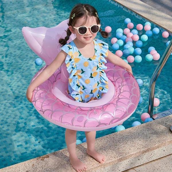 ins網紅美人魚兒童座圈游泳圈可愛寶寶充氣加厚環保安全幼兒泳圈ATF 格蘭小鋪