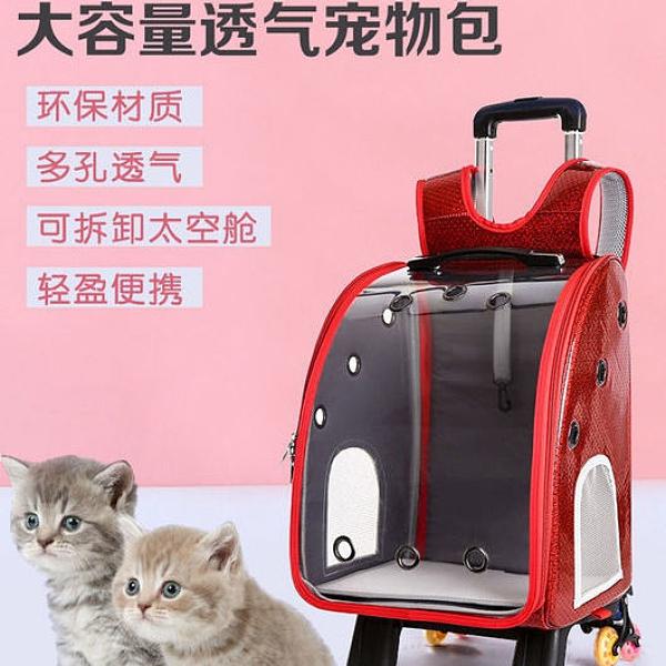 可折疊寵物拉桿包大容量寵物行李箱寵物包貓包狗包透明雙肩背包