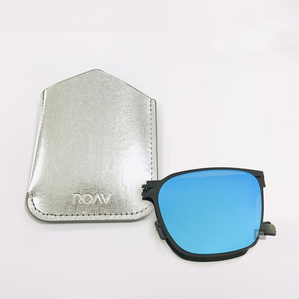 【ROAV】薄鋼 太陽眼鏡 折疊墨鏡 SS002 C13.63 藍水銀 方形太陽眼鏡 美國 OVERSIZE 59mm