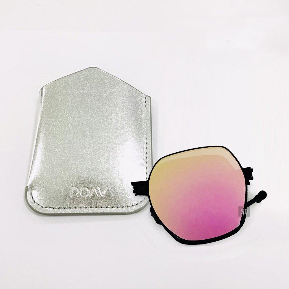 【ROAV】薄鋼 八角型太陽眼鏡 折疊墨鏡 SS011 C13.66 粉水銀 多邊形太陽眼鏡 美國 MEGAN 54mm