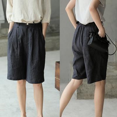 法國高端色織亞麻黑色寬管短褲-設計所在