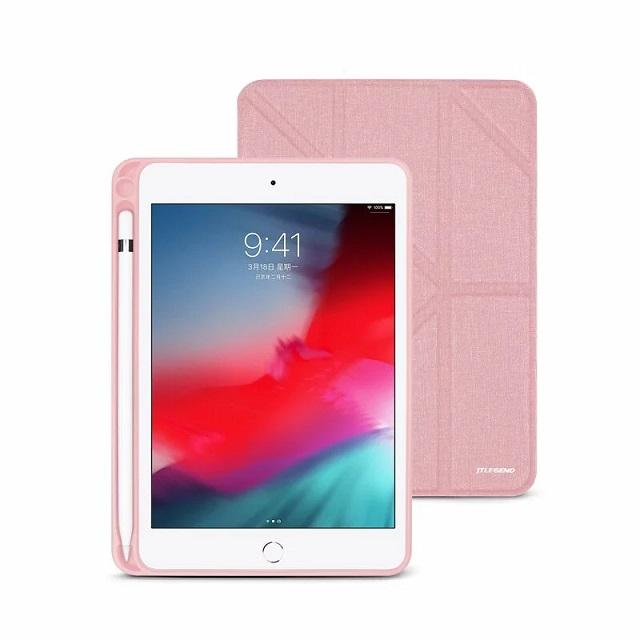 JTLEGEND iPad mini 2019 Amos 7.9吋 相機快取多角度折疊布紋皮套(含Apple pencil槽) - 櫻花粉