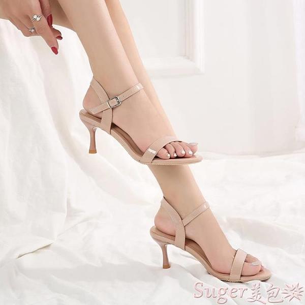 中跟涼鞋 新款一字扣涼鞋女細跟6cm露趾大碼41 43中跟女涼鞋百搭小碼31 32 suger