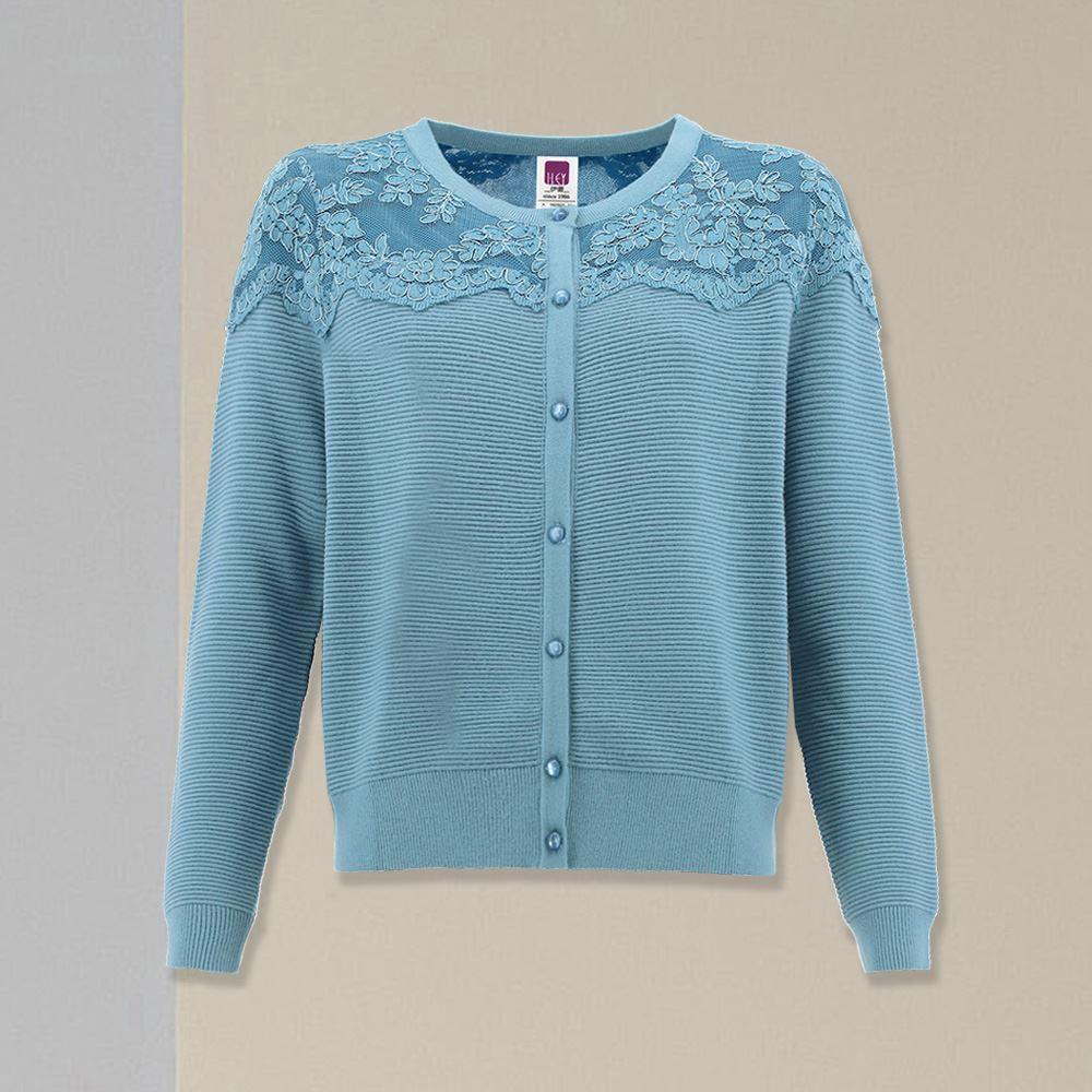 ILEY伊蕾 高雅蕾絲拼接坑條針織外套(白/藍)052525