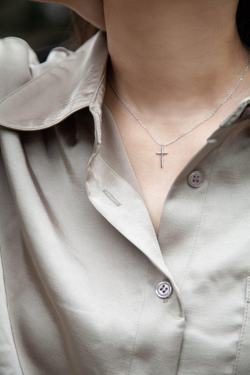 簡約十字架項鍊 純銀 信仰 經典