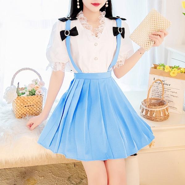 套裝~4330#新款春夏季女泡泡袖上衣 背帶蝴蝶結半身裙兩件套裝NE36-A1胖妞衣櫥