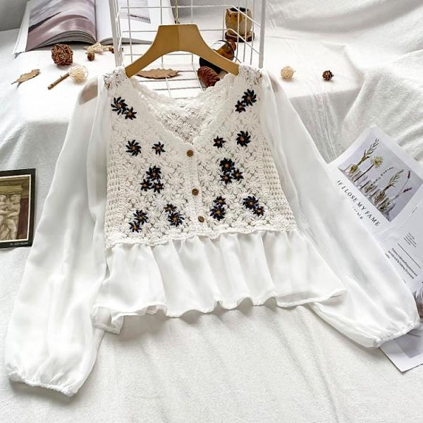 雪紡上衣 法式蕾絲雪紡衫上衣女2021年新款設計感小眾短款夏季女裝鏤空小衫 寶貝 618狂歡