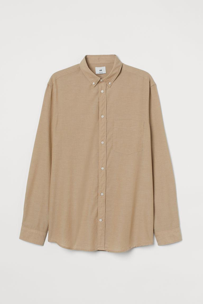 H & M - 標準剪裁棉質襯衫 - 米黃色