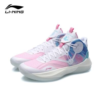 LI-NING 李寧 音速 IX Team 男子回彈中筒籃球專業比賽鞋 標準白/桃木粉/純淨藍 (ABPR017-5)