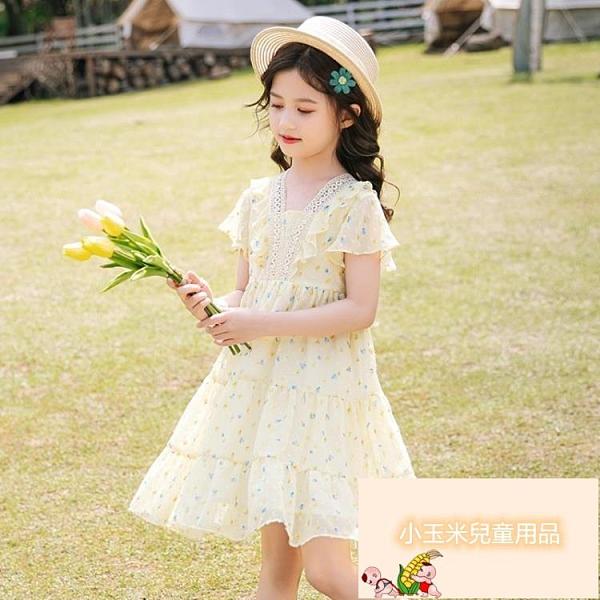 女童連身裙女童夏季兒童洋裝夏裝女孩童裝韓版雪紡裙子兒童公主裙【小玉米】