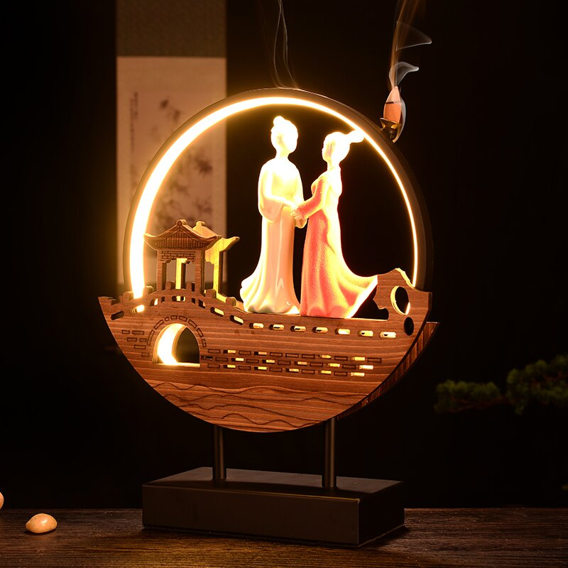 陶瓷香薰燈流香爐倒流香 大號 禪意情侶擺件創意愛情臥室浪漫禮物