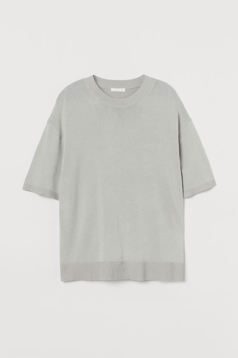H & M - 精織T恤 - 灰色