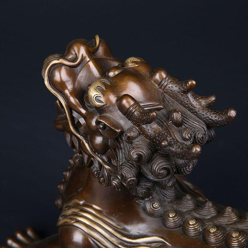匠澤銅魂純銅貔貅辦公室開光風水招財家居裝飾品雙角霸王貔貅禮品