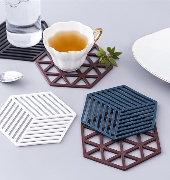 Qmishop 幾何鏤空矽膠隔熱墊 杯墊 鍋墊 桌墊 防燙墊 隔熱墊 防水 多邊形 北歐風【J1730】