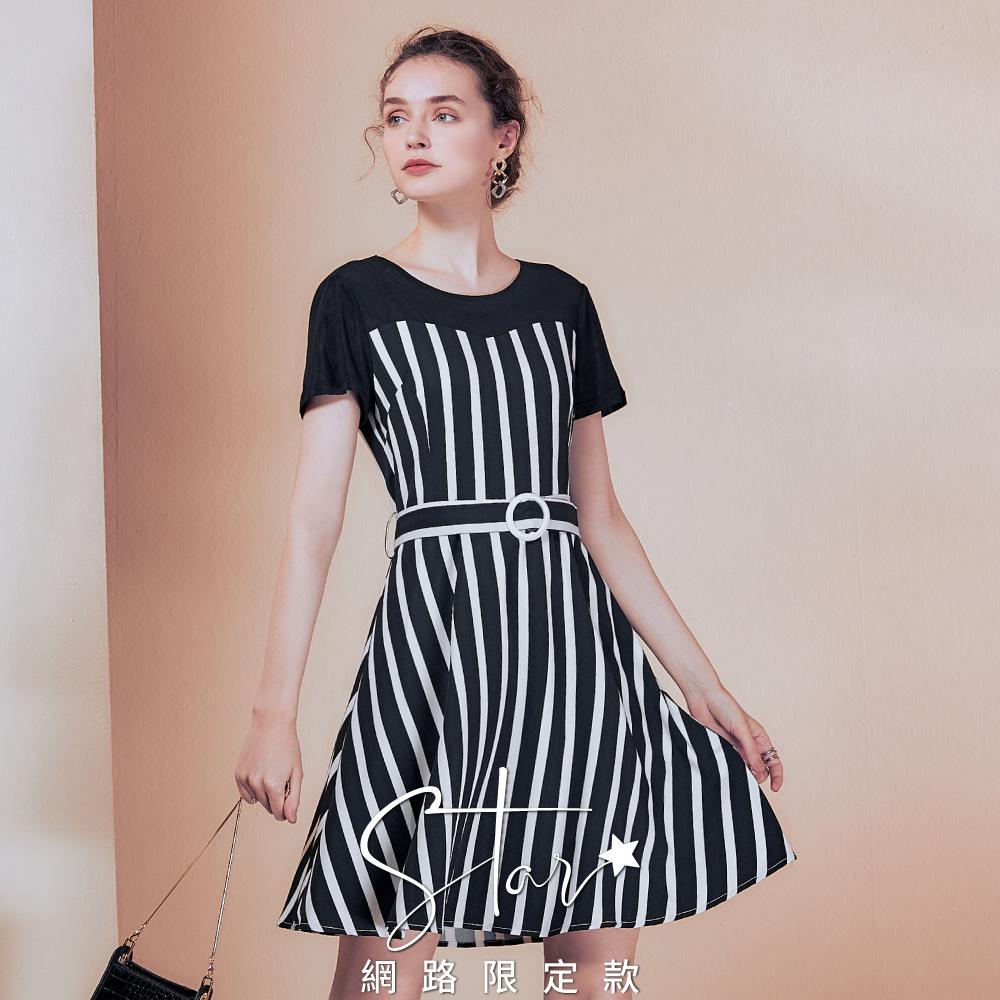 STAR時尚微透膚網布拼接條紋洋裝