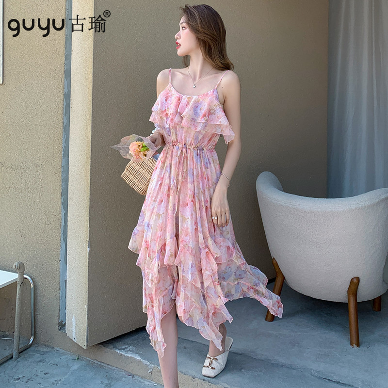 細肩帶波西米亞洋裝 S-L夏天無袖鬆緊腰碎花雪紡連衣裙吊帶度假洋裝沙灘裙
