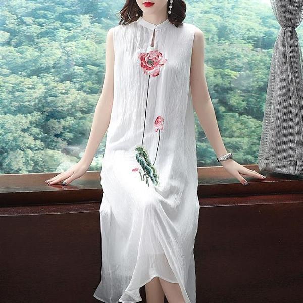 雪紡洋裝 旗袍中國風女裝復古改良版重工繡花長款無袖雪紡連身裙文藝漢服夏 嬡孕哺