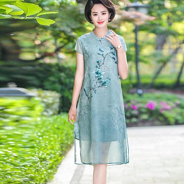 媽媽洋裝 2021中年女春夏民族風裙子中老年媽媽雪紡洋氣連身裙母親節旗袍裙 童趣屋