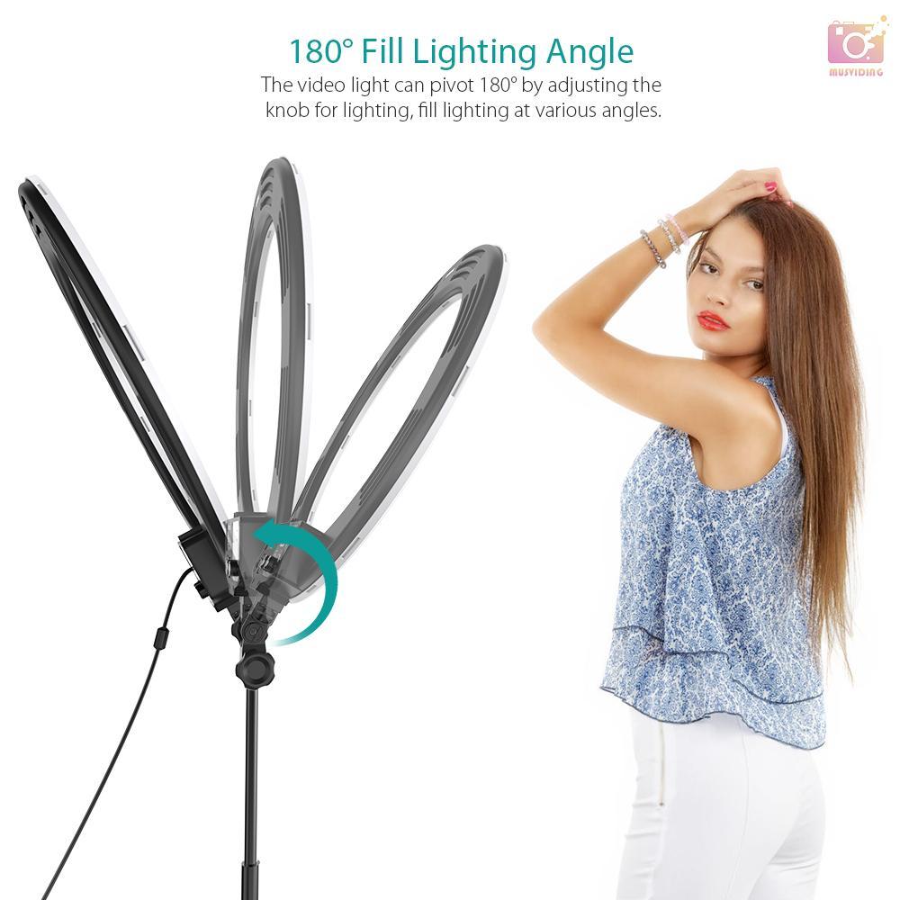 Andoer HD-18D 18寸5600K單色溫環形攝影燈補光燈標配1/4螺絲底座可調光顯色指數9 1愛尚優品