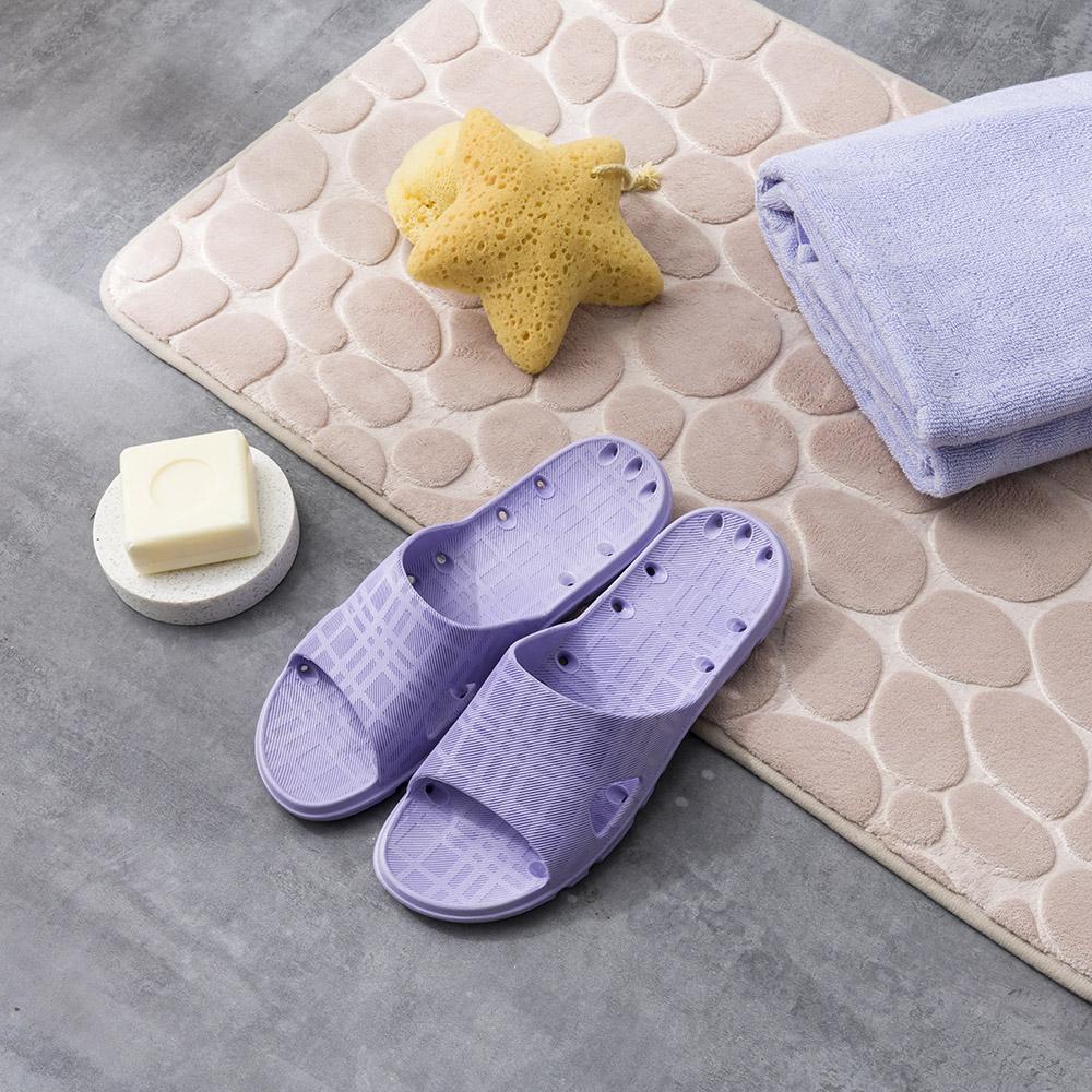 悠活防滑17孔排水浴室拖-紫25