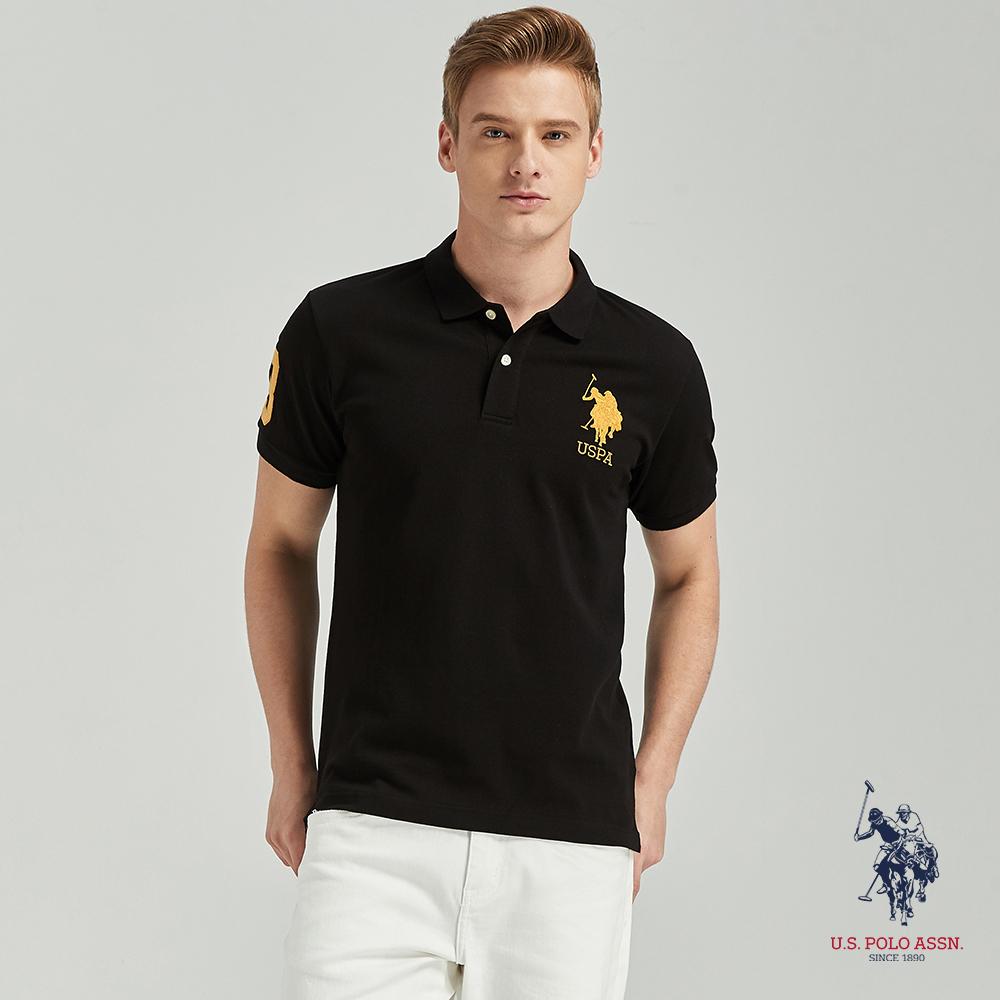 U.S. POLO ASSN. 大馬短袖POLO衫-黑色