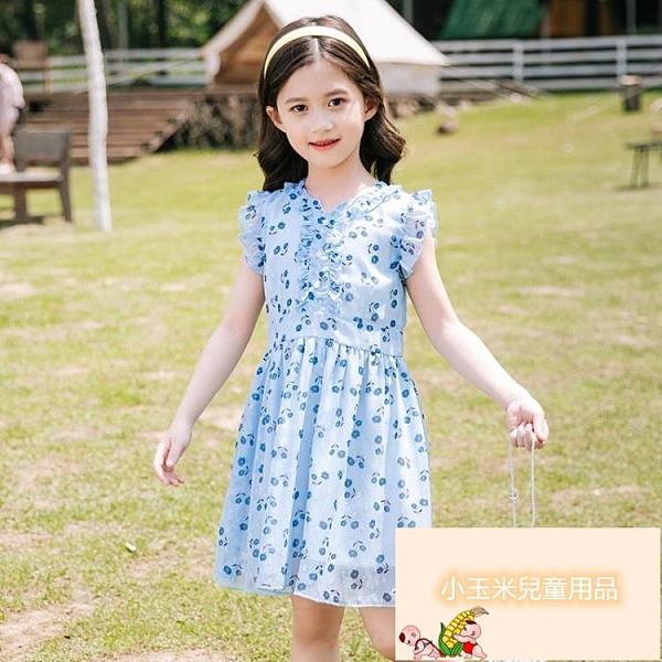 女童連身裙女童夏季兒童洋裝小女孩兒童裙子雪紡公主裙【小玉米】