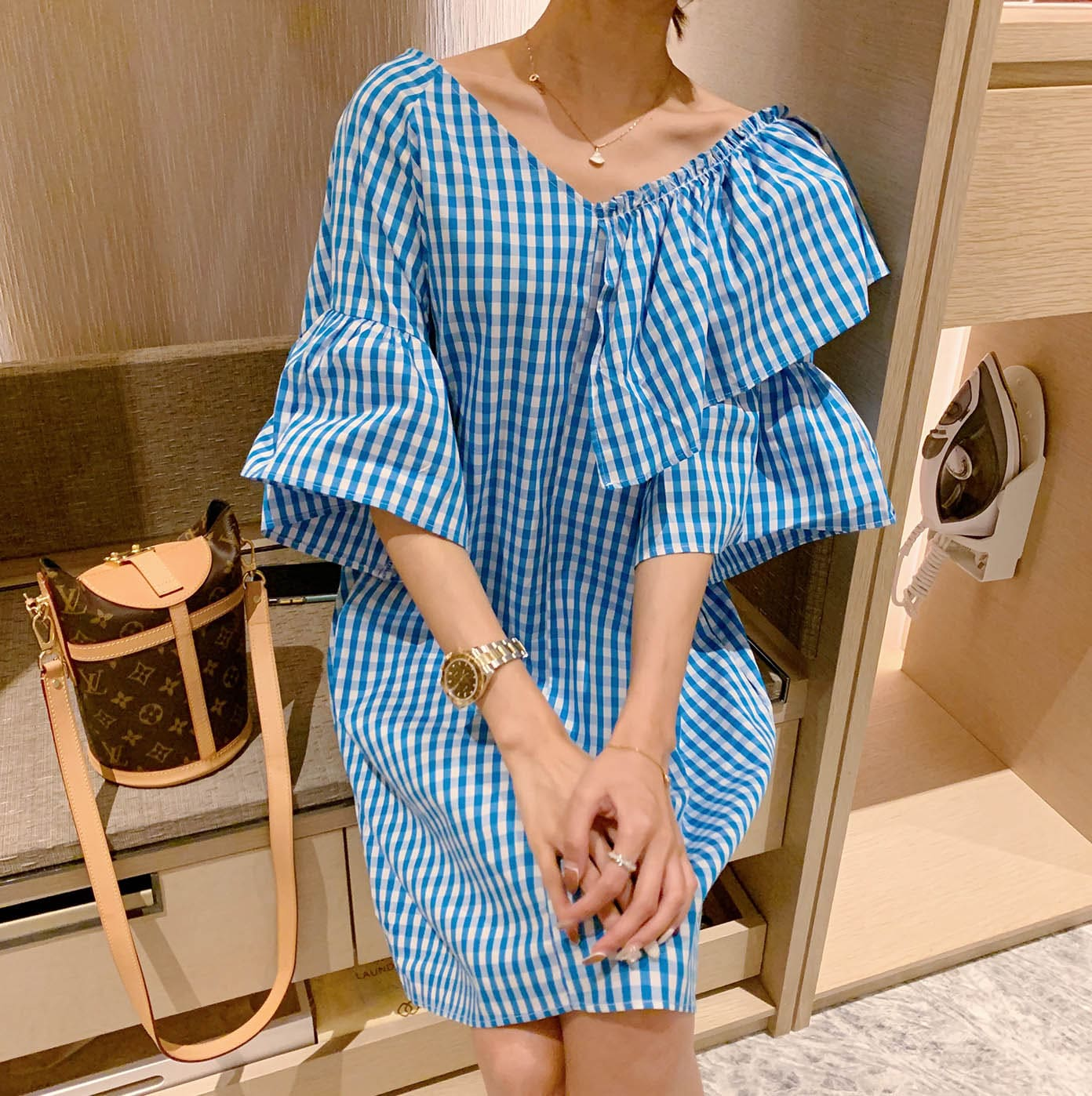 【missy shop】韓國東大門 不平庸日系格紋洋裝-1633