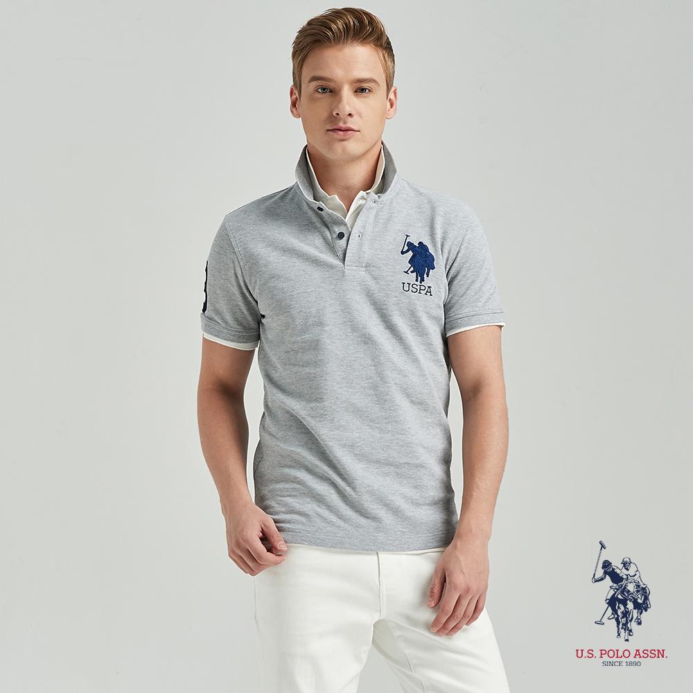 U.S. POLO ASSN. 大馬短袖POLO衫-灰色
