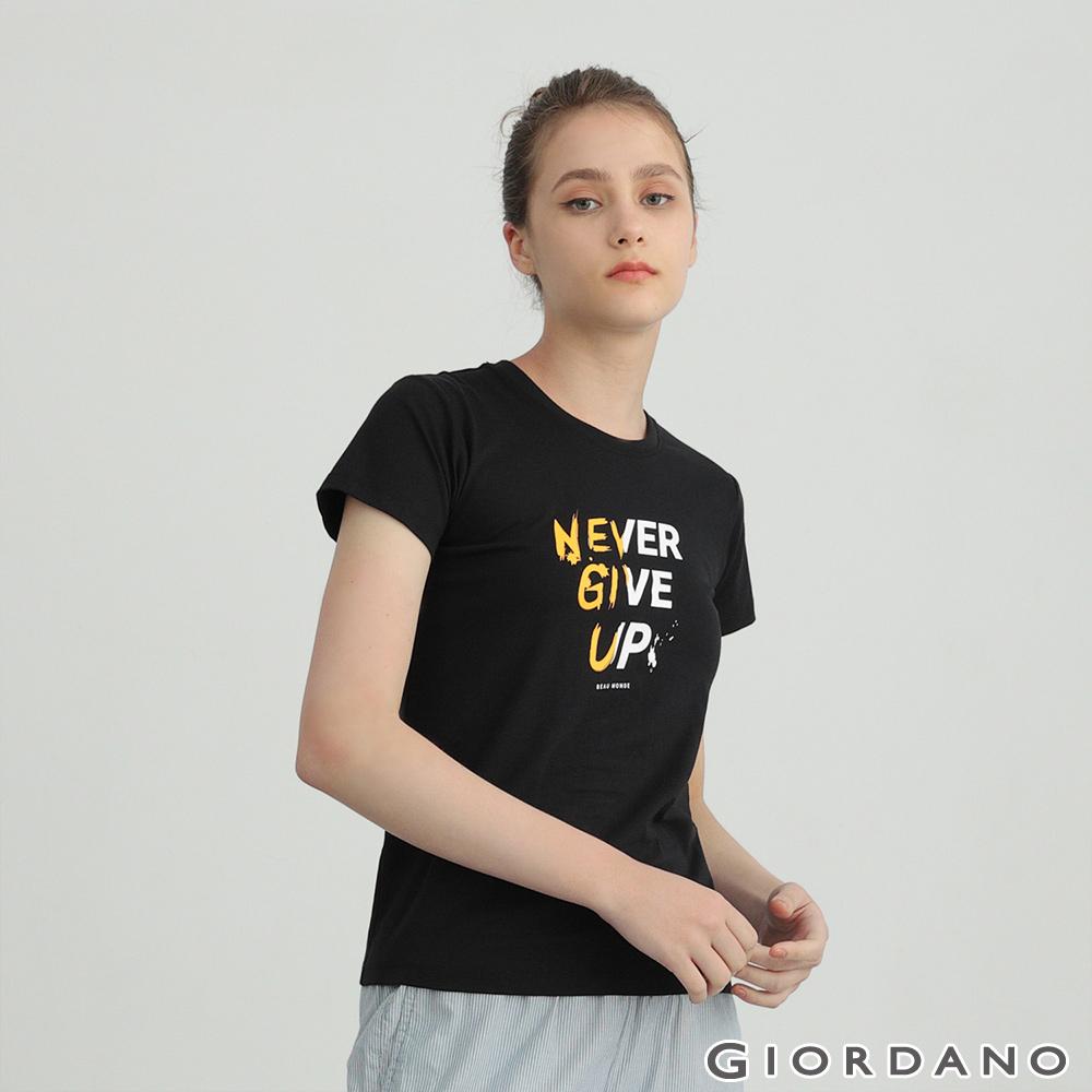 GIORDANO 女裝純棉文字印花T恤-08 標誌黑