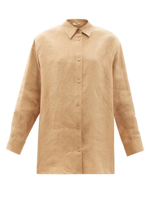 Fendi - Oversized Ff-embroidered Linen Shirt - Womens - Light Beige