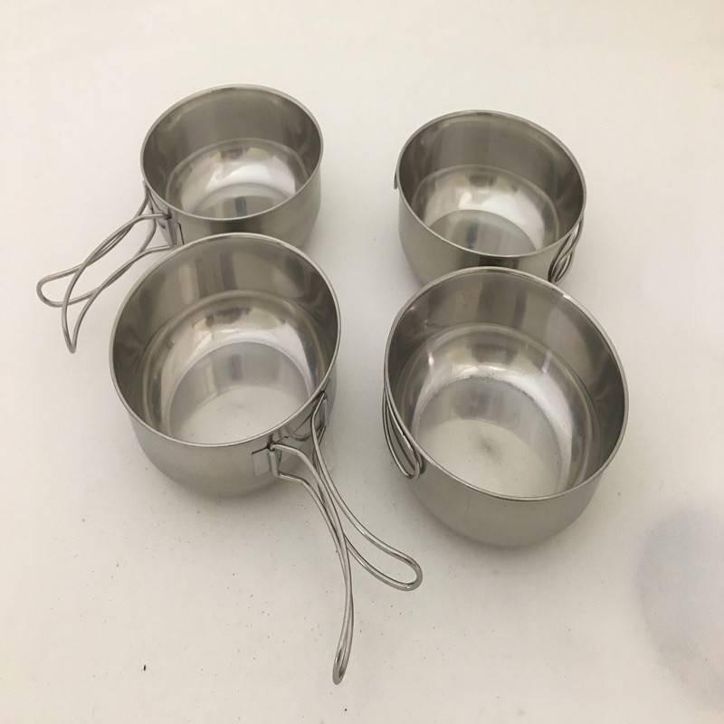 Caiyi 304不銹鋼4件套碗小鋼碗 戶外 露營登山旅行垂釣野餐 組合餐具 500ml