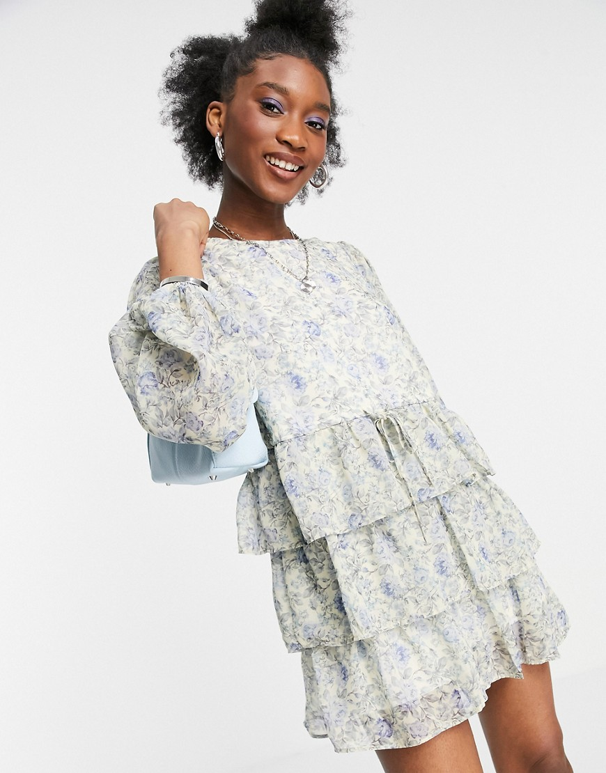In The Style x Lorna Luxe balloon sleeve tiered smock dress in blue floral-Multi