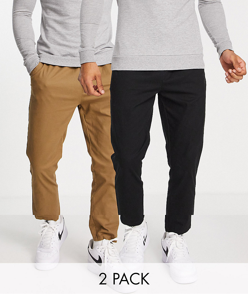 ASOS DESIGN 2 pack skinny chinos with elasticated waist in brown and black-Multi