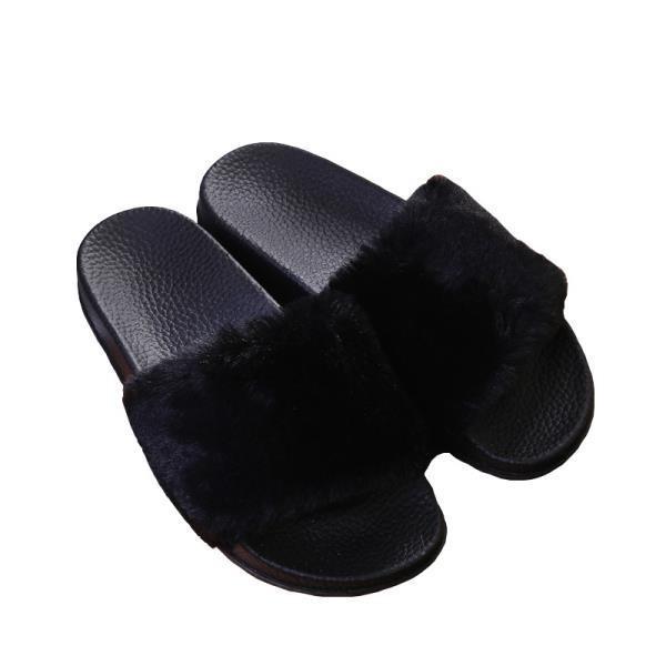 新款毛毛防滑拖鞋一字拖毛絨絨平底鞋女生外穿拖鞋居家休閒鞋子防滑拖鞋
