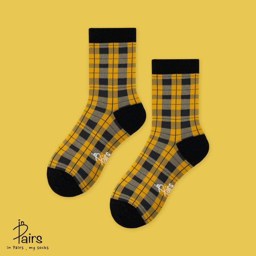 【in Pairs】英倫復古格紋中筒襪-黃M