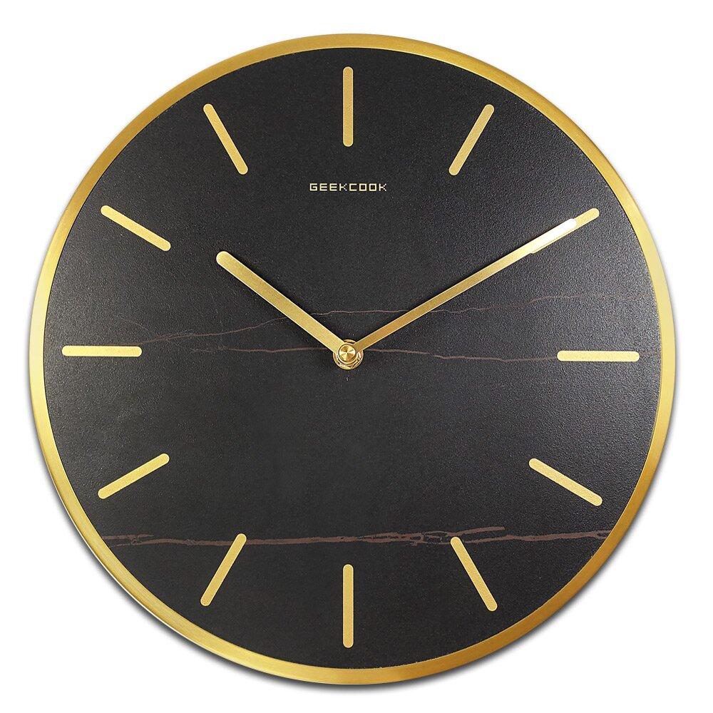 12吋 沉穩簡約 北歐風 靜音 黑岩板 金屬外框 圓掛鐘 - 黑金色