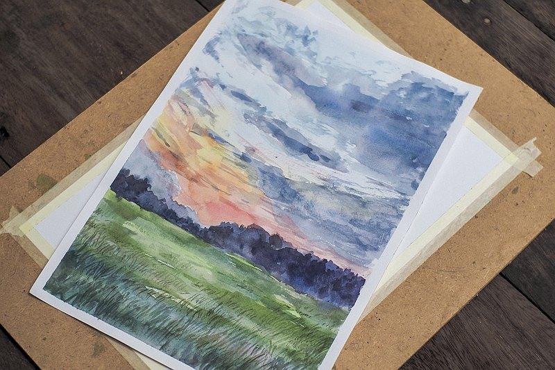 夕陽的天空水彩畫藝術家桃茶(A4)繪畫
