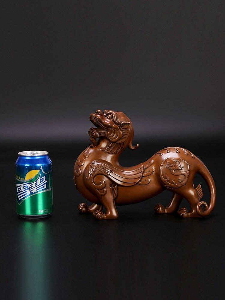匠澤銅魂紫銅貔貅擺件純銅辦公室客廳玄關風水家居裝飾品開業送禮
