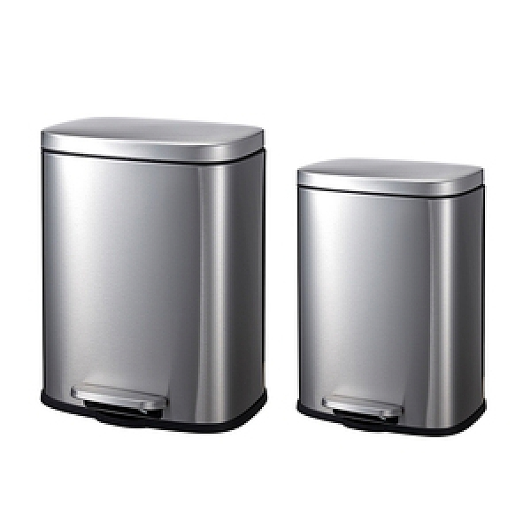 特力屋時尚長方形不鏽鋼緩降垃圾桶5L+12L